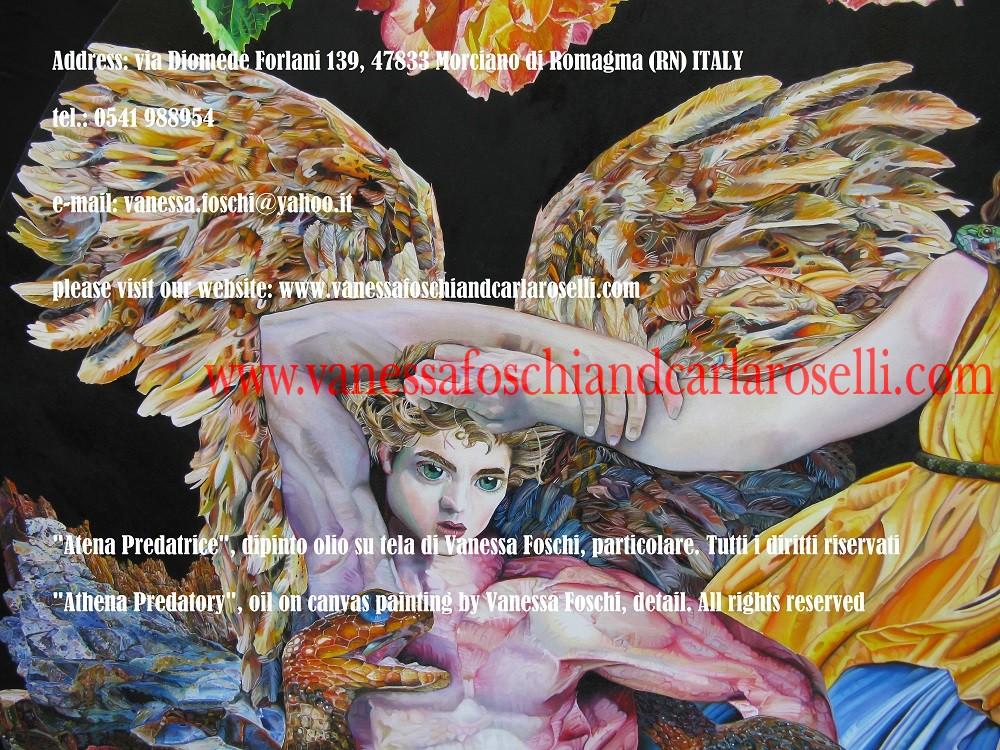 Athena Predatory, Atena Predatrice (Alcioneo), dipinto olio su tela di Vanessa Foschi, particolare- Athena Predatory (Alcyoneus) , oil on canvas painting by Vanessa Foschi