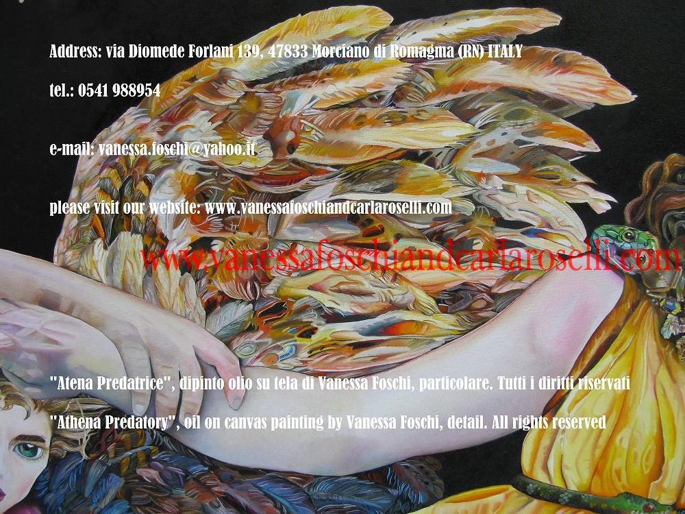 Athena, Minerva, Pallas/ Atena, Minerva, Pallade nel dipinto olio su tela di Vanessa Foschi, ali di Alcioneo