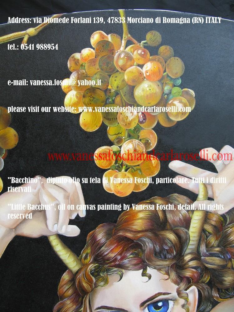 Bacchino, dipinto olio su tela di Vanessa Foschi, particolare. Tutti i diritti riservati- Little Bacchus, oil on canvas painting by Vanessa Foschi, detail , All rights reserved