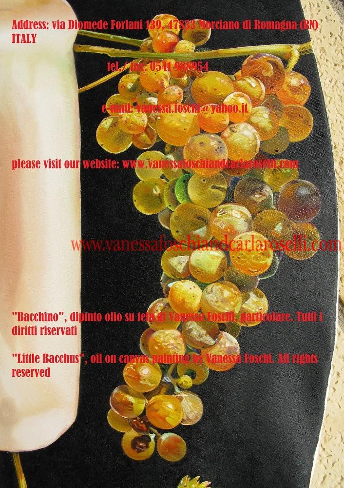 Bacchino, dipinto olio su tela di Vanessa Foschi, grappolo d'uva. Tutti i diritti riservati- Little Bacchus, oil on canvas painting by Vanessa Foschi, a bunch of grapes , All rights reserved