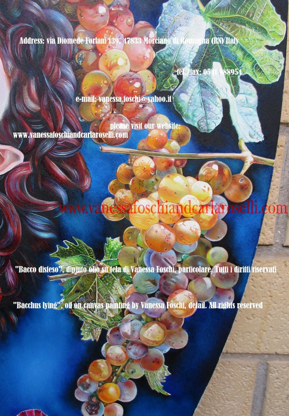 Bacchus lying, oil on canvas painting by Vanessa Foschi -Bacco disteso, dipinto olio su tela di Vanessa Foschi , foglia di fico e uva