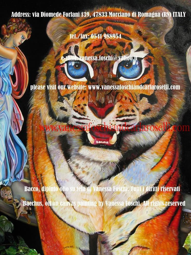 """BACCO, SIGNORE DELLA VITE- Vanessa Foschi qui raffigura il più giocondo degli dei olimpici. Grappoli d'uva e corimbi di vite lo coronano. Il suo animale è la tigre, fiera dalla """"spaventosa simmetria"""", i cui occhi """"ardono brillanti nelle foreste della notte"""". Sulla sinistra una Baccante porta un canestro: la vista del suo contenuto è preclusa ai non iniziati. Tecnica olio su tela. Dipinto da Vanessa Foschi. Scritto da Vanessa Foschi. Tutti i diritti riservati."""