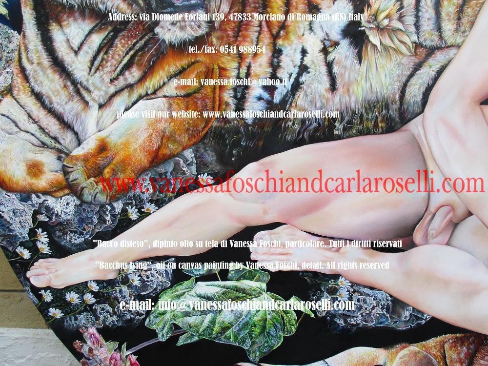 Bacchus lying, oil on canvas painting by Vanessa Foschi , ivy leaf -Bacco disteso, dipinto olio su tela di Vanessa Foschi, foglia d'edera