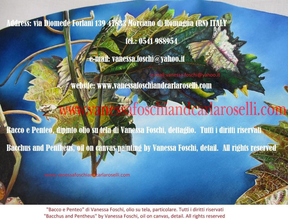 Bacco e Penteo, dipinto olio su tela di Vanessa Foschi, foglia di vite - Bacchus and Pentheus oil on canvas painting by Vanessa Foschi, leaf