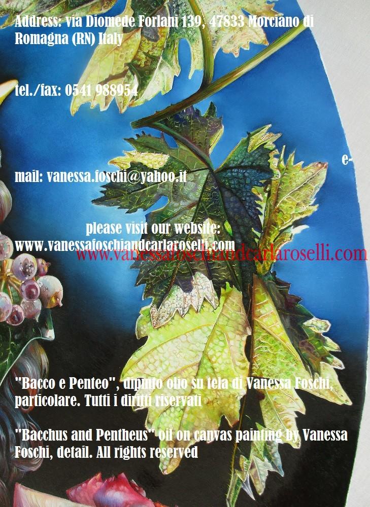 Bacco e Penteo, dipinto olio su tela di Vanessa Foschi, foglie di vite- Bacchus and Pentheus, oil on canvas painting by Vanessa Foschi, vine leaves