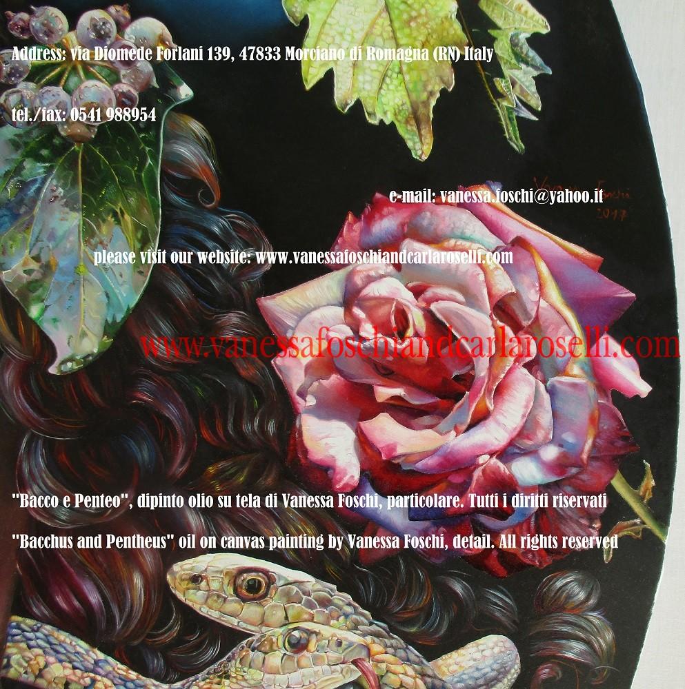 """Nel dipinto """"Bacco e Penteo"""" di Vanessa Foschi, c'è Bacco/Dioniso, il """"nato due volte"""" fra gli dei celesti. Egli è raffigurato mentre conduce il re di Tebe Penteo al Monte Citerone ed alla sua rovina. Penteo è travestito come una donna per spiare sui sacri riti delle Baccanti/Menadi, vietati agli uomini. La veste rossa prefigura il suo sanguinoso squartamento per mano loro. I suoi occhi hanno pupille verticali come quelle dei rettili per evocare la sua ascendenza: infatti suo padre Echione balzò dalla Terra in cui furono seminati i denti del fatidico serpente di Ares. Tecnica olio su tela. Dipinto da Vanessa Foschi Scritto di Vanessa Foschi. Tutti i diritti riservati"""