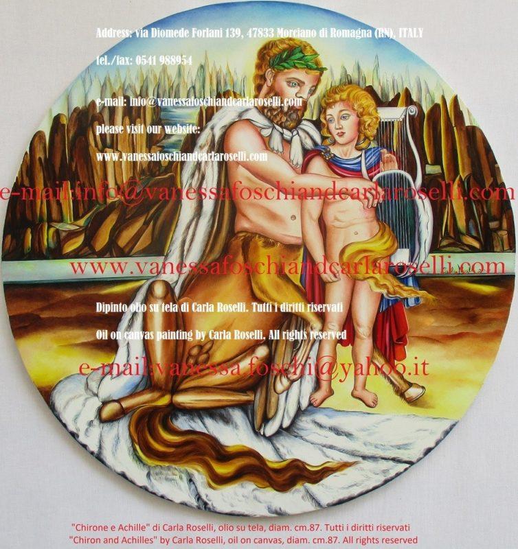 Chirone e Achille, dipinto olio su tela di Carla Roselli - κένταυρος