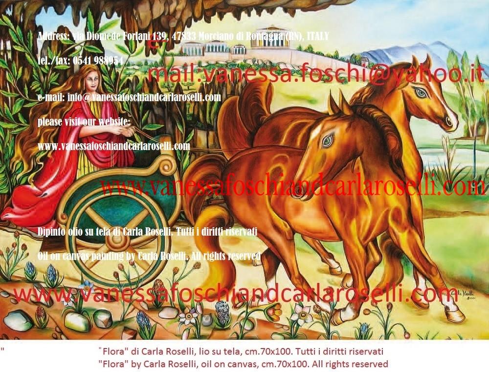 Flora, dipinto olio su tela di Carla Roselli - Flore, déesse de la végétation, peinture à l'huile sur toile de Carla Roselli