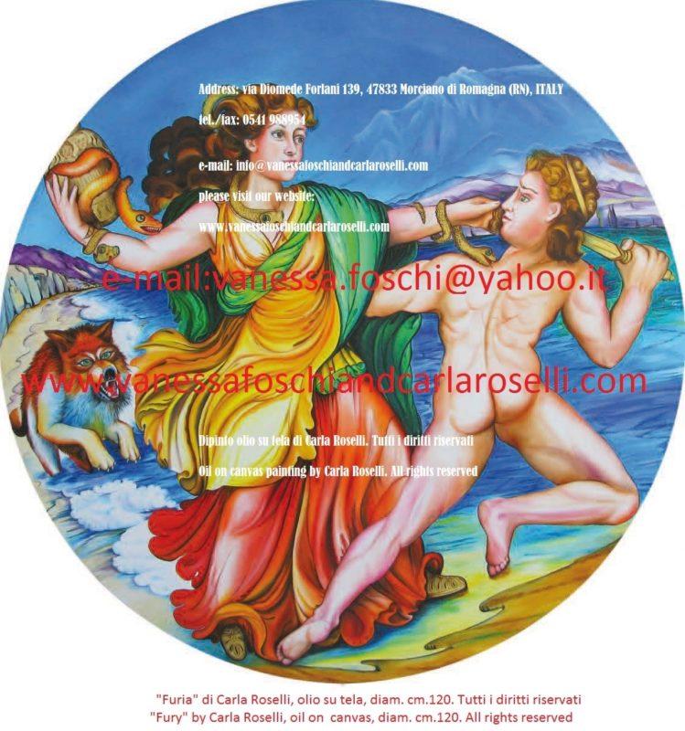 Fury, oil on canvas painting by Carla Roselli- Ερινύς, déesse de la vengeance, peinture à l'huile sur toile de Carla Roselli