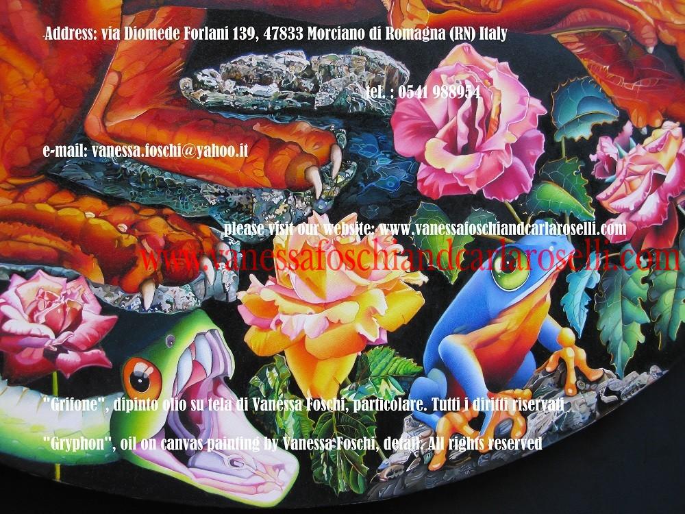 """GRYPHON """"Gryphon"""", oil on canvas painting by Vanessa Foschi, diameter cm 90. All rights reserved. She was inspired by greco-roman mythology and in particular by the winged creature with the body of a lion and the head of an eagle. In this painting the beast has a snake for tail. For more informations please contact us at the following e-mail address: vanessa.foschi@yahoo.it This painting was realized in the year 2008 by italian artist Vanessa Foschi, born in Rimini. GRIFONE """"Grifone"""", dipinto olio su tela di Vanessa Foschi, diametro cm. 90. Tutti i diritti riservati Questo dipinto è stato realizzato nell'anno 2008 dall'artista italiana Vanessa Foschi, nata a Rimini. La pittrice è stata ispirata dalla mitologia greco- romana ed in particolare dall'alata creatura con corpo di leone e testa d'aquila. In questo dipinto la belva ha un serpente per coda. Tecnica olio su tela. Scritto da Vanessa Foschi. Tutti i diritti riservati. Per maggiori informazioni contattate l'indirizzo e-mail: vanessa.foschi@yahoo.it"""