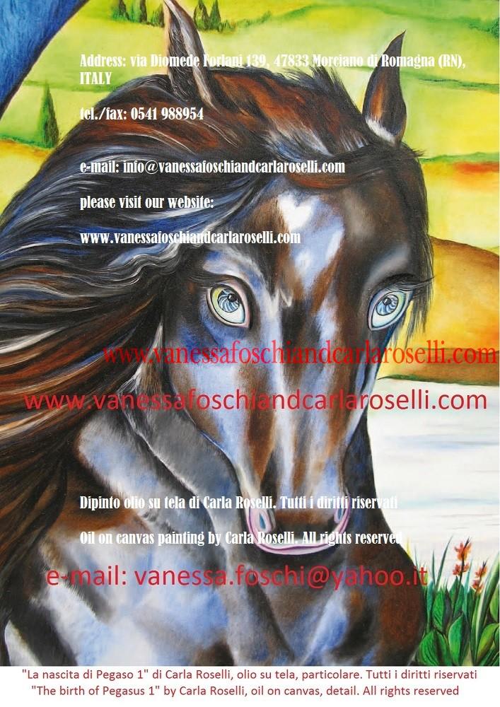 Perseo velato, dipinto olio su tela di Carla Roselli, cavallo alato