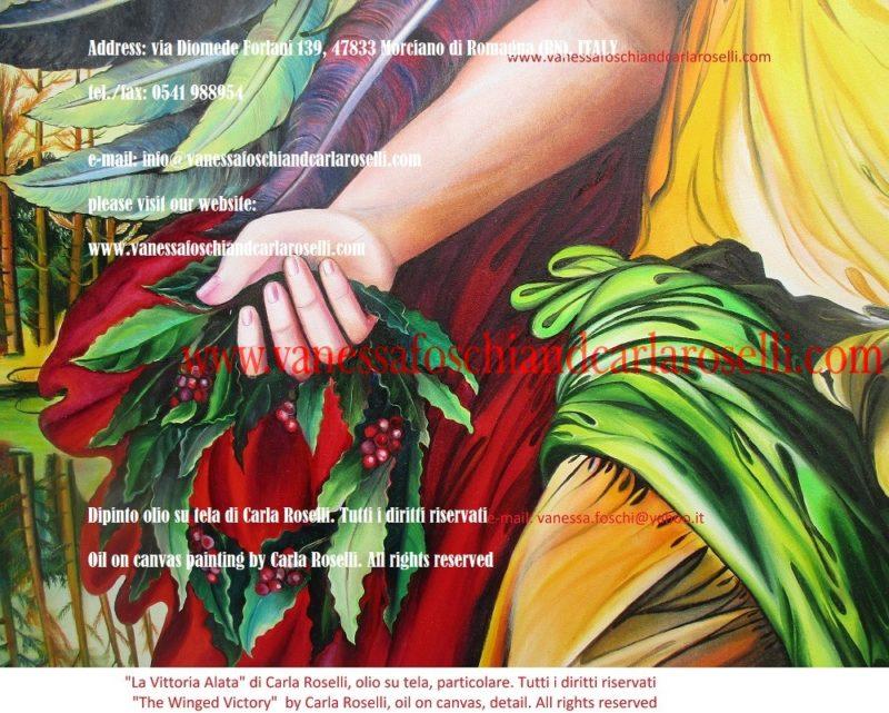 Victory Winged, oil on canvas painting by Carla Roselli, laurel wreath- Victoire ailée, peinture à l'huile sur toile de Carla Roselli