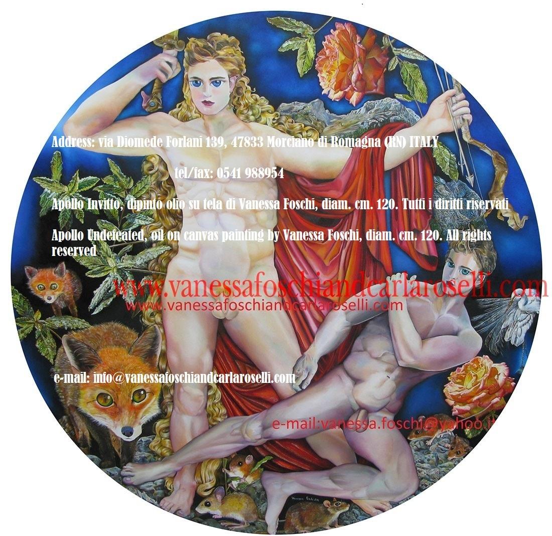 """-Sullo sfondo del dipinto """"Apollo invitto"""" di Vanessa Foschi si possono osservare le brillntti vette gemelle del monte Parnaso, il seggio profetico. Era stato chiamato, nei famosi gliconei di Euripide (Fenicie vv. 226, 227 ) """"roccia splendente che proietta una duplice vampa di fuoco"""". Come affermato da Eschilo nel prologo delle Eumenidi (vv. 21-27), sotto la sua sommità si trova il cavo antro Coricio sacro alle Ninfe, nei cui recessi gli dei amano dimorare, e dove gli abitanti di Delfi in tempi bui solevano nascondere di tesori dell'oracolo, come attestato da Erodoto. Apollo Invitto, dipinto olio su tela di Vanessa Foschi, diam. cm. 120. Tutti i diritti riservati- Apollo Undefeated, oil on canvas painting by Vanessa Foschi, diam. cm. 120. All rights reserved"""