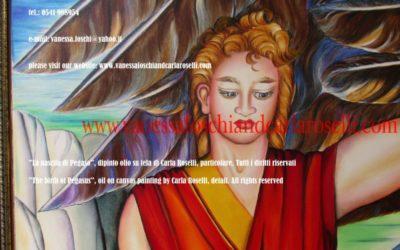 Gods, Perseo in La nascita di Pegaso di Carla Roselli, olio su tela, particolare. Tutti i diritti riservati.