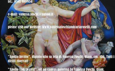 Apollo Invitto, dipinto olio su di Vanessa Foschi, diam. cm.120 -Apollo Undefeated, oil on canvas painting by Vanessa Foschi, diam. cm.120