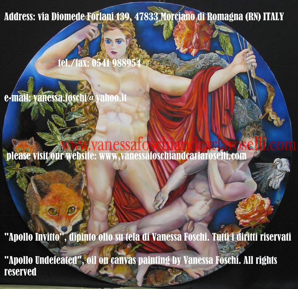 """APOLLO - DIO ARCIERE- """"Apollo Invitto"""", il lungisaettante Arciere fra gli dei greci, è dipinto da Vanessa Foschi il momento prima di uccidere con la sua spada d'oro Porfirione, il re dei figli della Terra, dopo averlo abbattuto con una freccia dell'arco d'argento."""