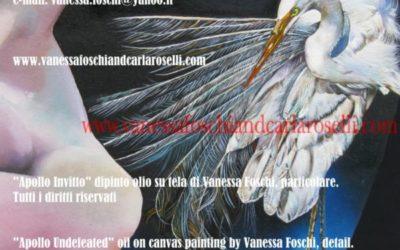Antichi dei. Apollo uccide Porfirione re dei Giganti nel dipinto di Vanessa Foschi. Olio su tela, particolare. Tutti i diritti riservati.