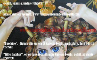 Bacchino, dipinto olio su tela di Vanessa Foschi, particolare. Tutti i diritti riservati- Little Bacchus, oil on canvas painting by Vanessa Foschi, detail. All rights reserved