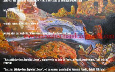 Bacco, dipinto di Vanessa Foschi olio su tela, particolare. Tutti i diritti riservati.