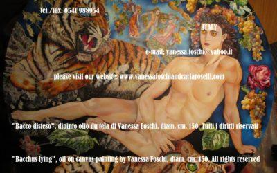 Bacco disteso, dipinto olio su tela di Vanessa Foschi, diam. cm.150- Bacchus lying, oil on canvas painting by Vanessa Foschi