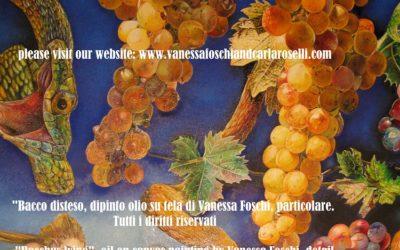 Bacco disteso, dipinto olio su tela di Vanessa Foschi, uva e serpenti- Bacchus lying, oil on canvas painting by Vanessa Foschi