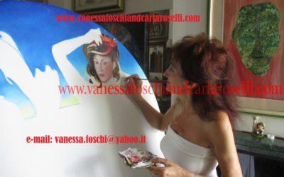 Carla Roselli con il dipinto Poseidone e Anfitrite in creazione, olio su tela .Tutti i diritti riservati.