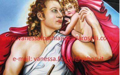 Gods, Faustolo, Romolo e Remo di Carla Roselli, olio su tela, particolare. Tutti i diritti riservati