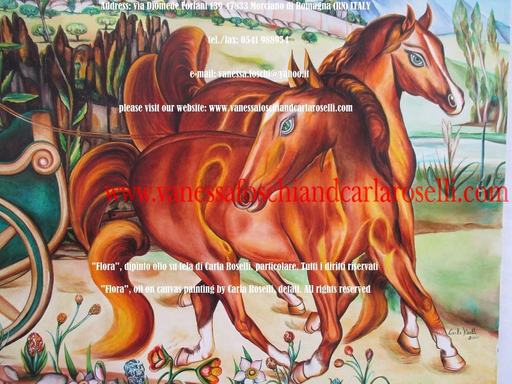 Flora, dipinto olio su tela di Carla Roselli, cavallo - Flora, oil on canvas painting by Carla Roselli, horse