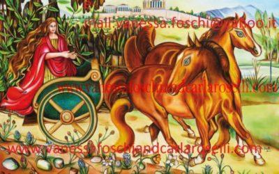 gods, Flora in trionfo, dipinto olio su tela di Carla Roselli. Tutti i diritti riservati-The triumph of Flora, oil on canvas painting by Carla Roselli. All rights reserved