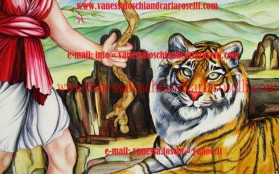 gods : Artemis Diana hunting in Crete as painted by italian artist Carla Roselli