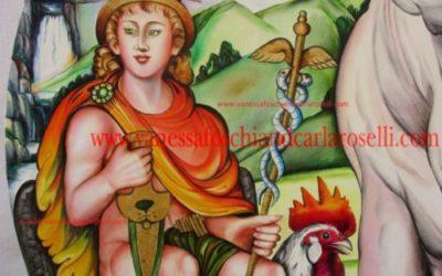 Mercurio/ Ermes, nel dipinto di di Carla Roselli, dipinto olio su tela, particolare. Tutti i diritti riservati.