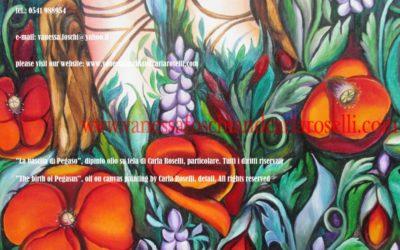 Antichi dei. Perseo e Medusa di Carla Roselli, olio su tela particolare.Tutti i diritti riservati.