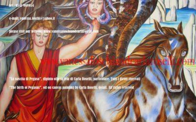 Gods, Medusa e Pegaso, dipinto di Carla Roselli, olio su tela, particolare. Tutti i diritti riservati.