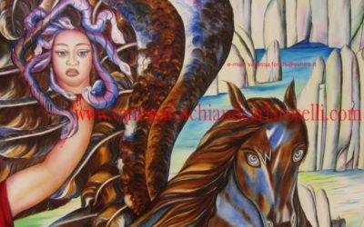 Gods, The birth of Pegasus oil on canvas by Carla Roselli, detail- La nascita di Pegaso di Carla Roselli olio su tela, particolare. Tutti i diritti riservati.