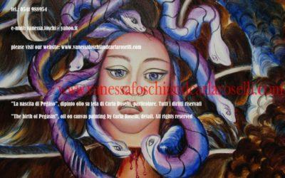 Medusa di Carla Roselli, dipinto olio su tela, particolare. Tutti i diritti riservati.