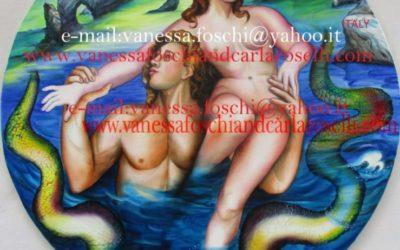 gods Triton and Naiad bathing, oil on canvas by Carla Roselli