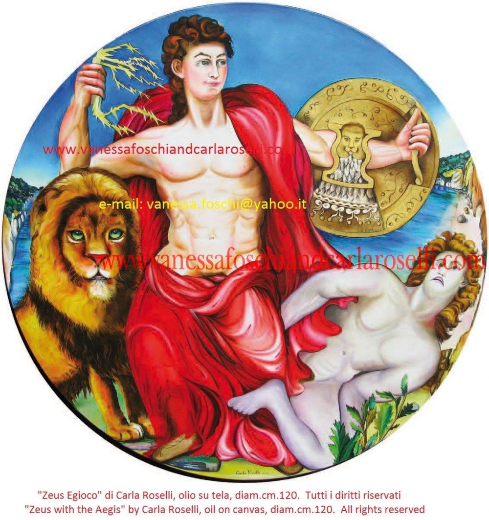 gods, Zeus, Jove, Iuppiter , Zeus with the aegis, painting by Carla Roselli