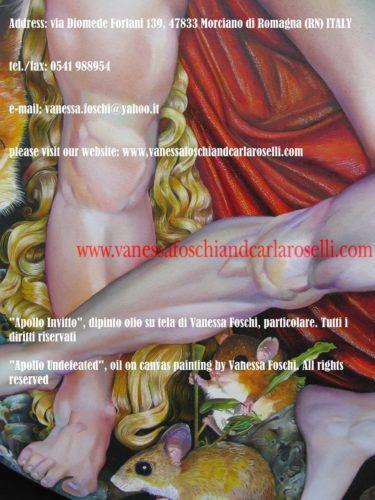 Apollo Invitto, dipinto olio su di Vanessa Foschi, chioma -Apollo Undefeated, oil on canvas painting by Vanessa Foschi, golden hairs