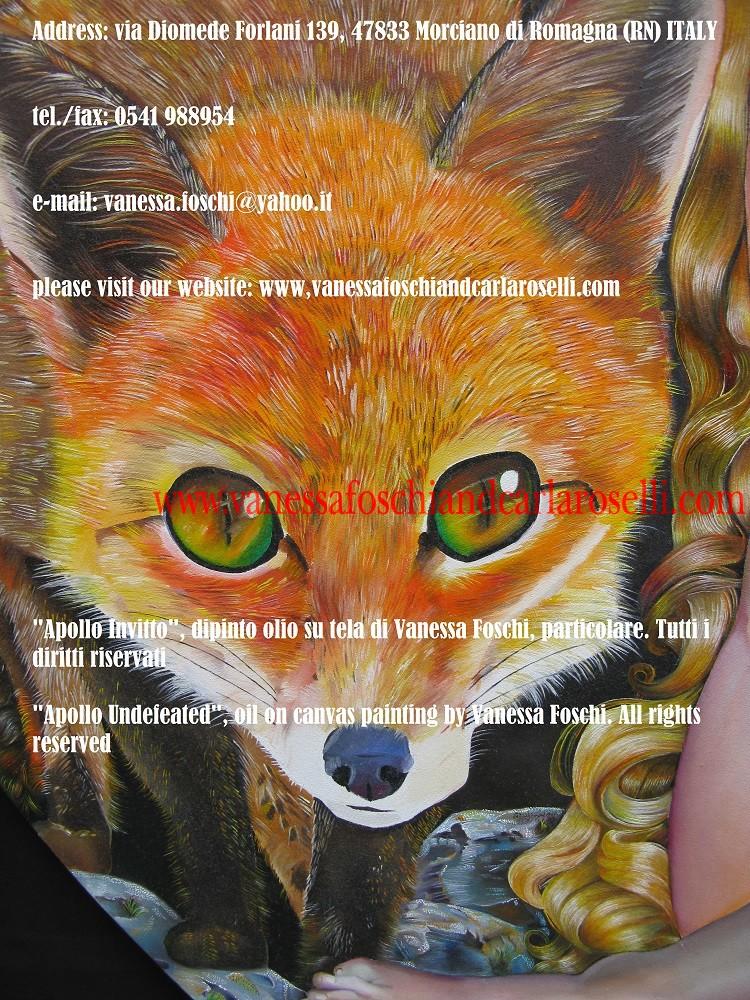 Apollo Invitto, dipinto olio su di Vanessa Foschi, volpe -Apollo Undefeated, oil on canvas painting by Vanessa Foschi, fox