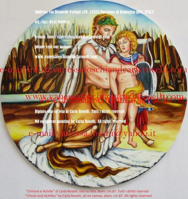 Chirone e Achille, dipinto olio su tela di Carla Roselli - Χείρων - Peinture à l'huile sur toile de Carla Roselli