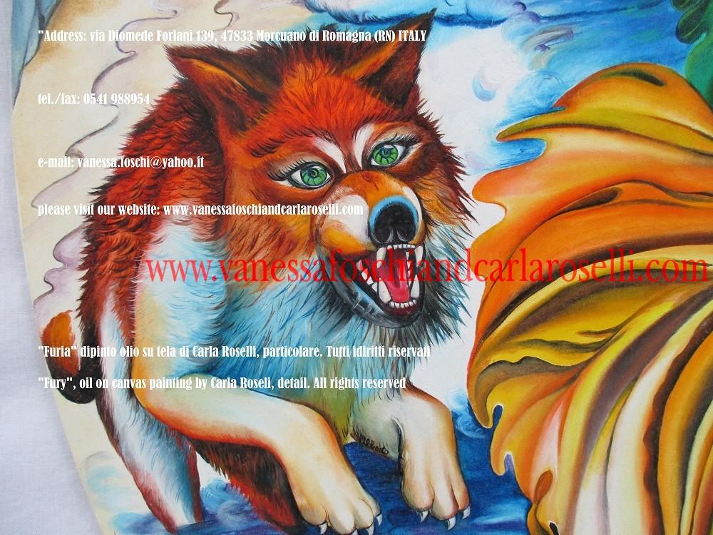 Furia, dipinto olio su tela di Carla Roselli - Ερινύς -Fury, oil on canvas by Carla Roselli, red dog