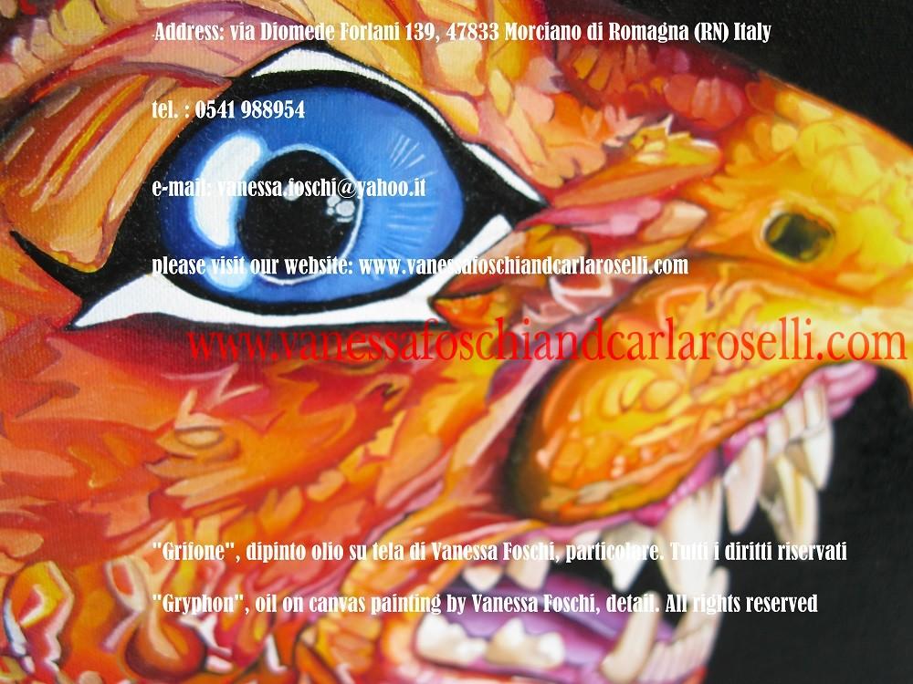 Griffin, Griffith, griffin, griffith,Grifone, dipinto olio su tela di Vanessa Foschi, particolare, -Gryphon, oil on canvas painting by Vanessa Foschi, detail