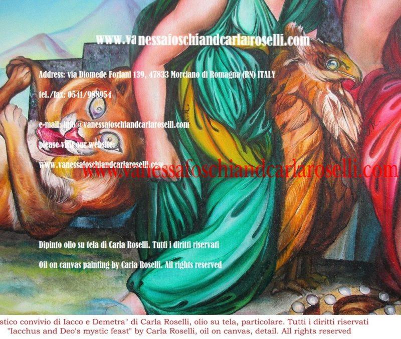 Mistico convivio di Iacco e Demetra, dipinto olio su tela di Carla Roselli- Δημήτηρ - Iacco et Demeter, peinture à l'huile sur toile de Carla Roselli