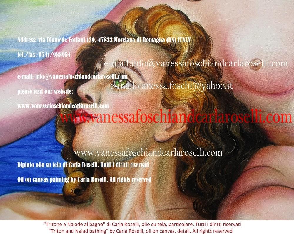 Tritone e Naiade al bagno, olio su tela di Carla Roselli- Triton and Naiad bathing, oil on canvas by Carla Roselli