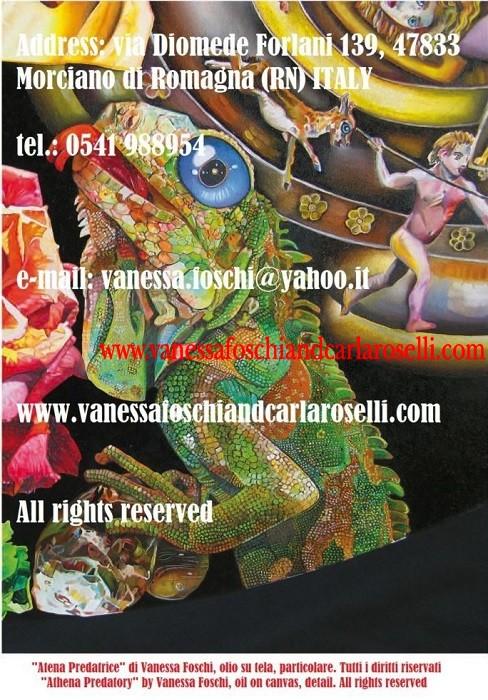 Alcioneo e Atena-Predatrice-olio-su-tela-di-Vanessa-Foschi-iguana e scudo-Athena-Predatory-Alcyoneus-oil-on-canvas-by-Vanessa-Foschi