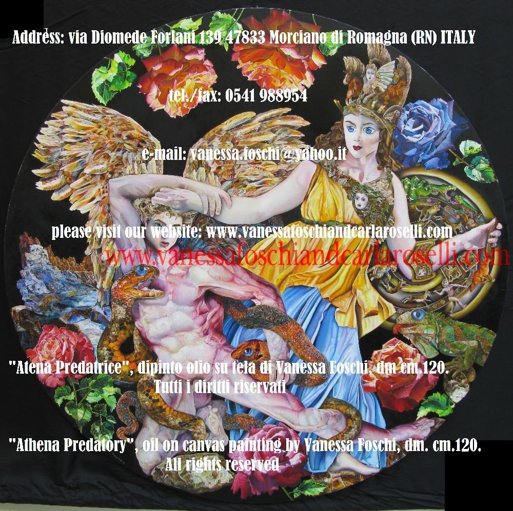 Athena Predatory, Atena Predatrice (Alcioneo), dipinto olio su tela di Vanessa Foschi. Tutti i diritti riservati. Questo dipinto ha richiesto due anni di minuzioso lavoro da parte dell'artista italiana Vanessa Foschi, nata a Rimini, ed è stato terminato nell'anno 2010.