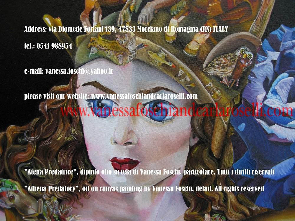 Atena Predatrice (Alcioneo), dipinto olio su tela di Vanessa Foschi, elmo- Athena Predatory (Alcyoneus) , oil on canvas painting by Vanessa Foschi, detail 19