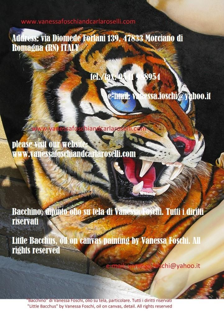 Bacchino, olio su tela di Vanessa Foschi, tigre- Little Bacchus, oil on canvas by Vanessa Foschi, tiger