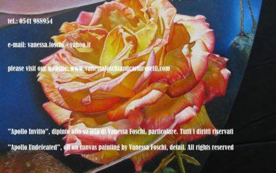 Apollo Invitto, dipinto olio su di Vanessa Foschi, particolare, rosa -Apollo Undefeated, oil on canvas painting by Vanessa Foschi, detail, rose