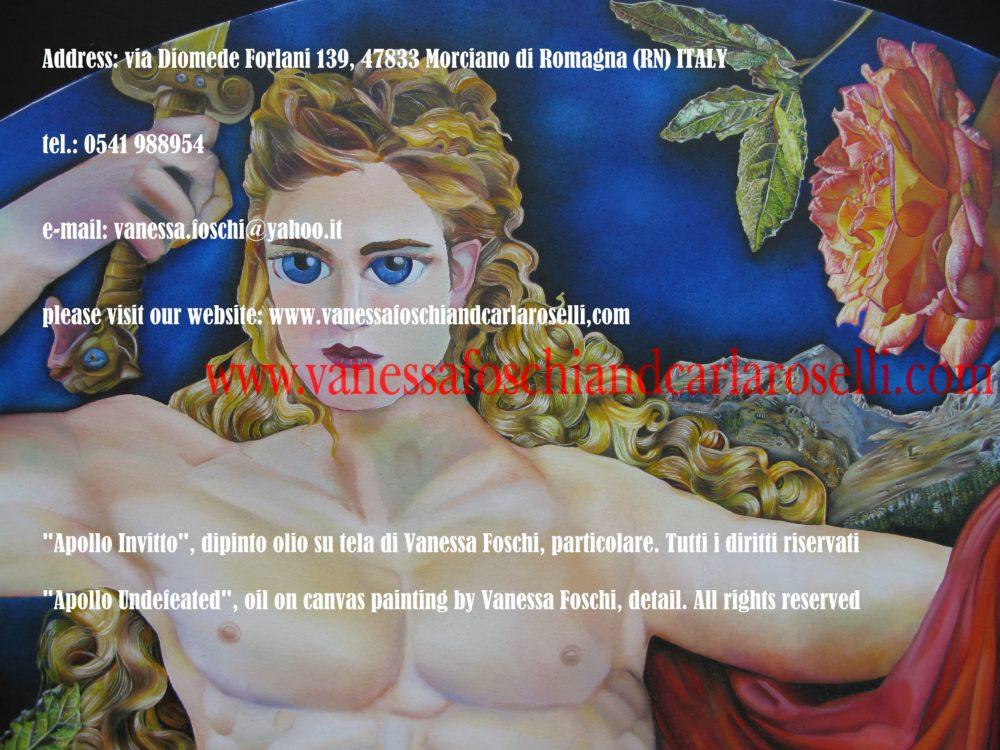 Apollo Invitto, dipinto olio su di Vanessa Foschi, particolare -Apollo Undefeated, oil on canvas painting by Vanessa Foschi, detail.